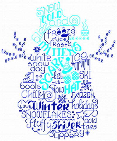 cross stitch pattern Let's Love Winter