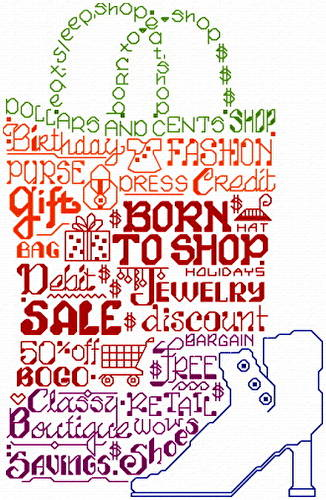 cross stitch pattern Let's Shop til we Drop