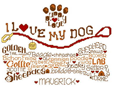 cross stitch pattern Let's Wag More