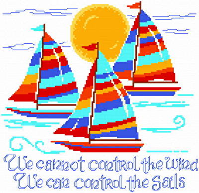 cross stitch pattern Sailboats in the Wind