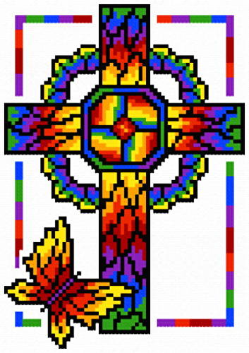 cross stitch pattern Stain Glass Cross 2