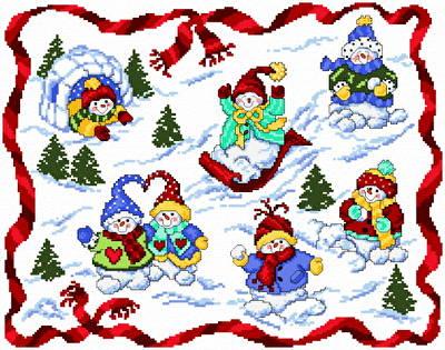 cross stitch pattern Snow Babies