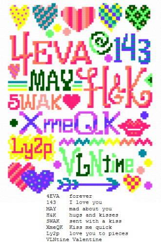 cross stitch pattern Teen Texts