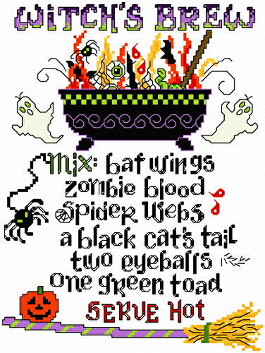 cross stitch pattern Witch's Brew