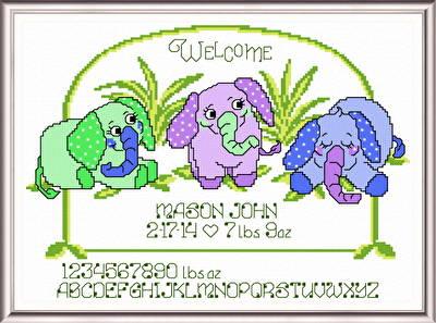 cross stitch pattern 3 Elephants Birth Record