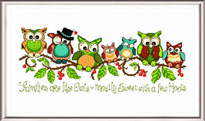 cross stitch pattern A Few Hoots