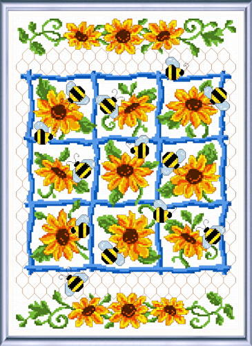 cross stitch pattern Bees and Sunflowers