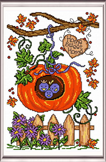 cross stitch pattern Autumn Birdhouse