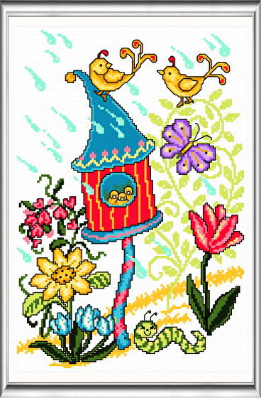 cross stitch pattern Spring Birdhouse