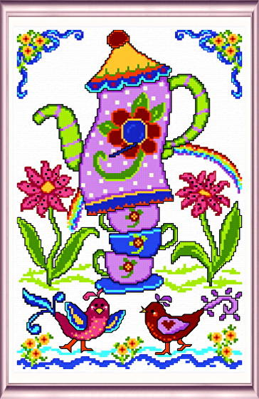cross stitch pattern Summer Birdhouse