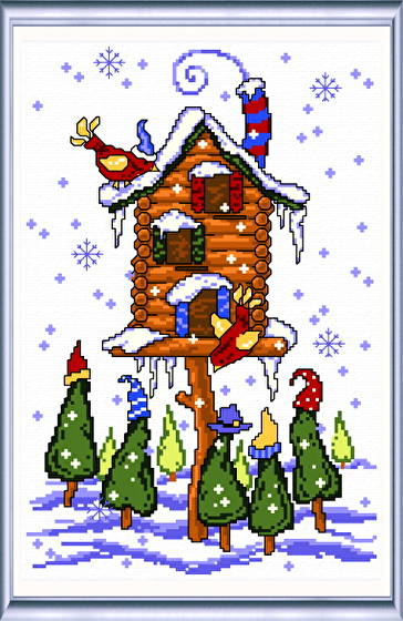 cross stitch pattern Winter Birdhouse