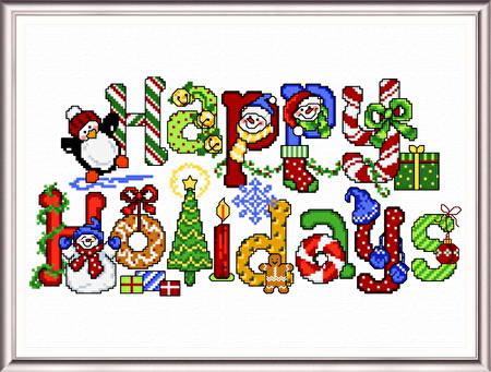 cross stitch pattern Happy Holidays Treats