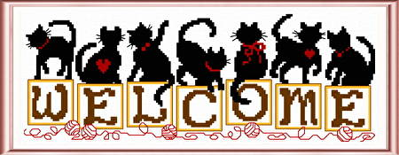 cross stitch pattern Kittens Welcome