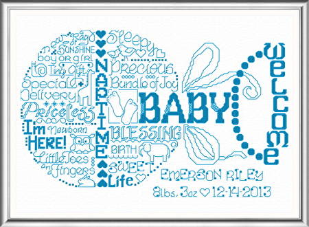 cross stitch pattern Let's Love Baby