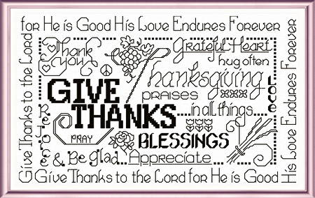 cross stitch pattern Let's Be Thankful