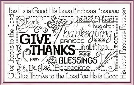 cross stitch pattern Let's Be Thankful