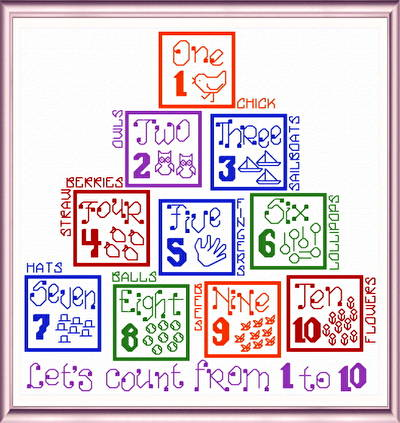 cross stitch pattern Let's Count
