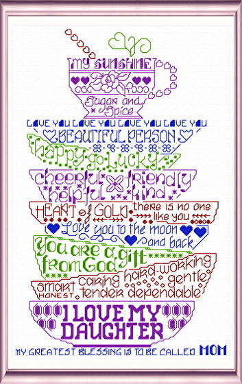 cross stitch pattern Let's Love our Daughters
