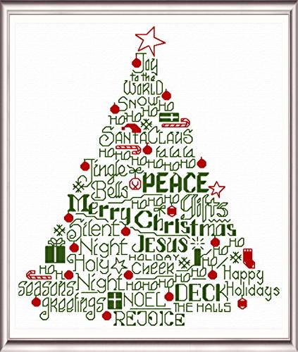 cross stitch pattern Let's Deck the Halls