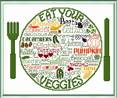 cross stitch pattern Let's Eat Veggies