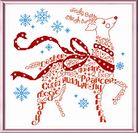 cross stitch pattern Let's Find Rudolph