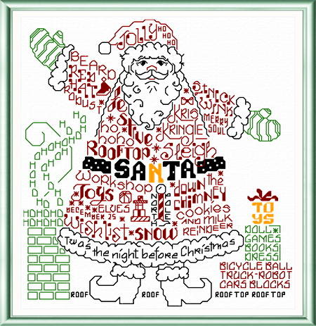 cross stitch pattern Let's Find Santa