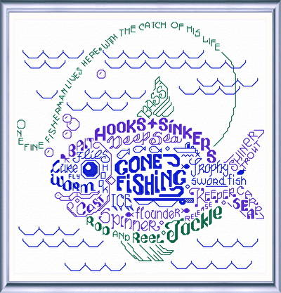 cross stitch pattern Let's Go Fishing