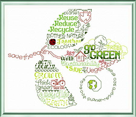 cross stitch pattern Let's Go Green