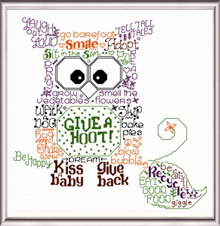 cross stitch pattern Let's Give a Hoot