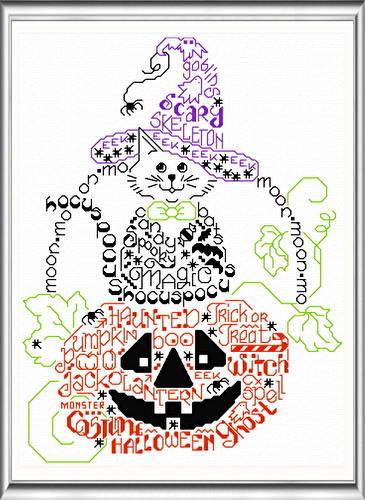 cross stitch pattern Let's Get Spooky