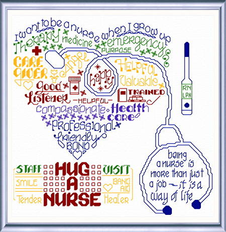 cross stitch pattern Let's Hug a Nurse
