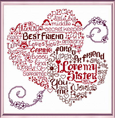 cross stitch pattern Let's Hug Sister