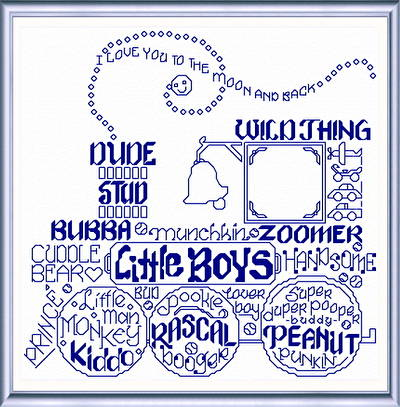 cross stitch pattern Let's Love Little Boys