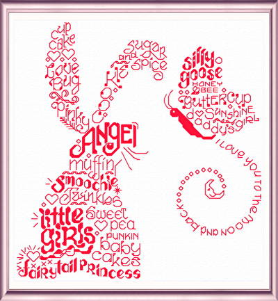 cross stitch pattern Let's Love Little Girls