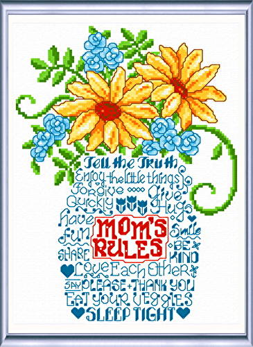cross stitch pattern Let's Listen to Mom