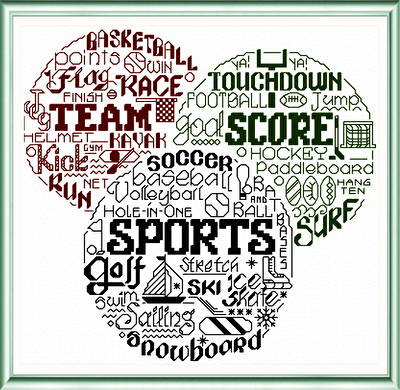 cross stitch pattern Let's Love Sports