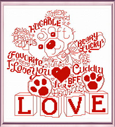 cross stitch pattern Let's Love Teddy
