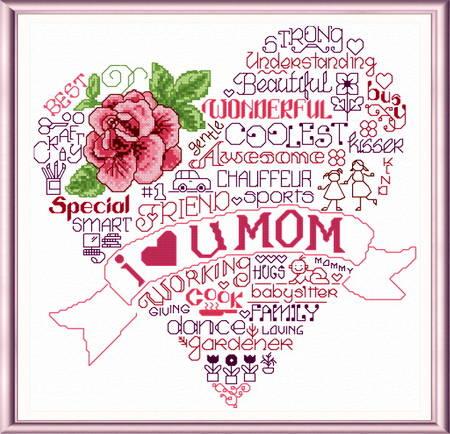 cross stitch pattern Let's Love Mom