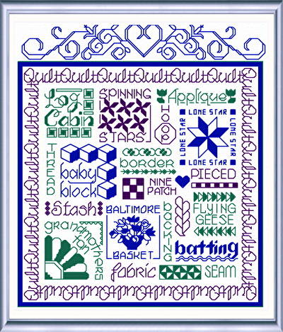 cross stitch pattern Let's Quilt