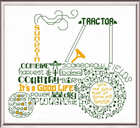 cross stitch pattern Let's Tractor
