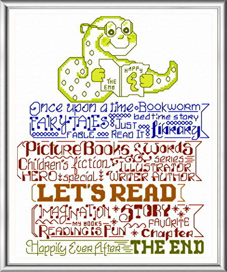 cross stitch pattern Let's Read to Kids