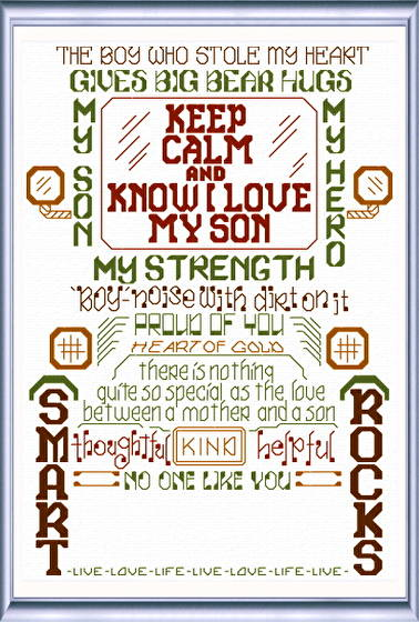 cross stitch pattern Let's Love our Sons