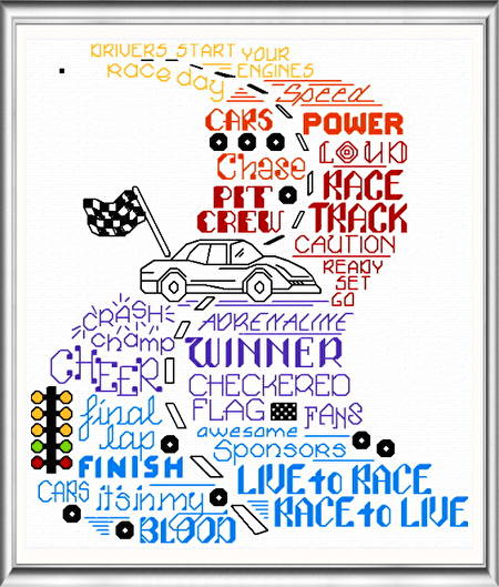 cross stitch pattern Let's Race
