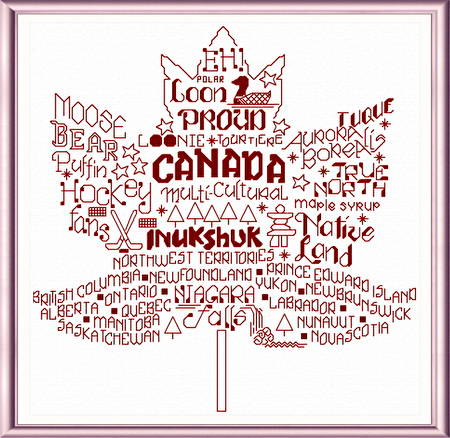 cross stitch pattern Let's Visit Canada