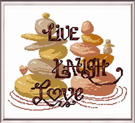 cross stitch pattern Live Laugh Love