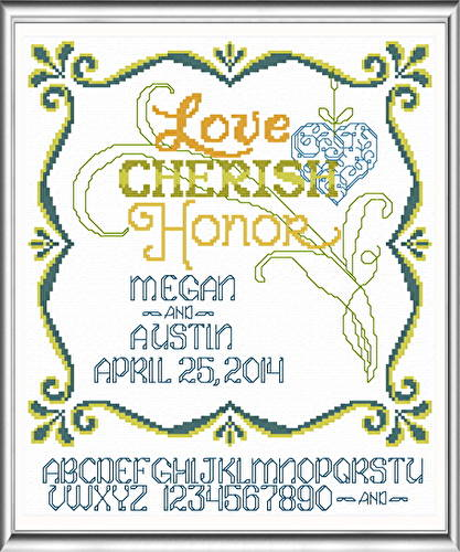 cross stitch pattern Love Cherish Honor