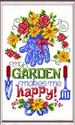 cross stitch pattern My Garden Makes Me Happy
