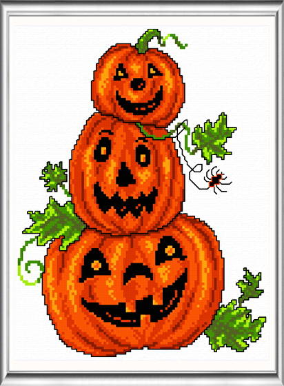 cross stitch pattern Pumpkin Trio