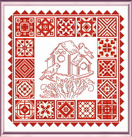 cross stitch pattern Redwork Quilts