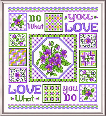 cross stitch pattern Violets in Spring